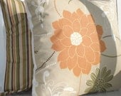 TWO New 18x18 inch Designer Handmade Pillow Cases in natural colors.