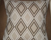 New 18x18 inch Designer Handmade Pillow Case in taupe and white diamond pattern.