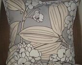 New 18x18 inch Designer Handmade Pillow Case in grey, white, cream and black floral.