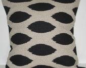 New 18x18 inch Designer Handmade Pillow Case Black ikat fabric.