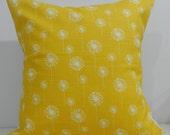 New 18x18 inch Designer Handmade Pillow Case. Small dandelions in white on yellow.