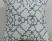 New 18x18 inch Designer Handmade Pillow Cases in blue and white trellis