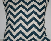 New 18x18 inch Designer Handmade Pillow Case. navy and cream chrvron zig zag pattern.