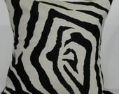 New 18x18 inch Designer Handmade Pillow Case in black and linen zebra print.