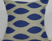 New 18x18 inch Designer Handmade Pillow Case in peacock and taupe ikat