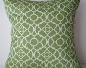 New 18x18 inch Designer Handmade Pillow Case in green and white lattice pattern.