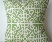New 18x18 inch Designer Handmade Pillow Case in green and cream trellis