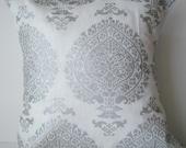 New 18x18 inch Designer Handmade Pillow Case silver black print on white linen