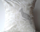 New 18x18 inch Designer Handmade Pillow Case. sand floral and grey bird.
