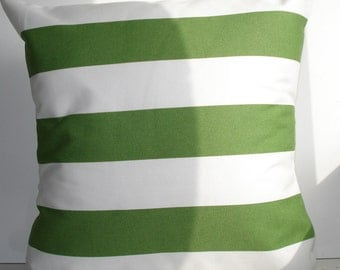 New 18x18 inch Designer Handmade Pillow Case in green stripe on white.