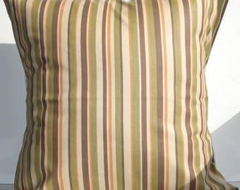 New 18x18 inch Designer Handmade Pillow Cases in caramel, and green stripe