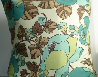New 18x18 inch Designer Handmade Pillow Case in retro floral.