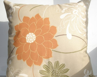 New 18x18 inch Designer Handmade Pillow Case in caramel floral.