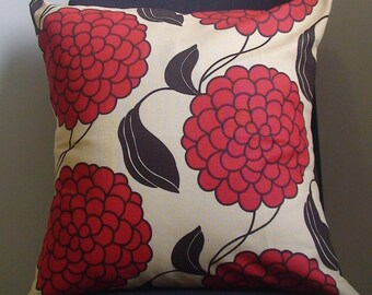 New 18x18 inch Designer Handmade Pillow Case with red, and brown flowers.