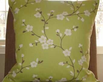 New 18x18 inch Designer Handmade Pillow Case with large taupe branches with white flowers