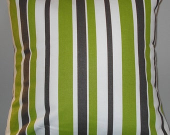 New 18x18 inch Designer Handmade Pillow Case in  lime green and grey stripes.