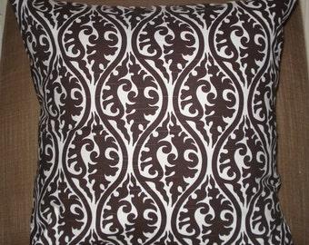 New 18x18 inch Designer Handmade Pillow Case in dark brown on white.