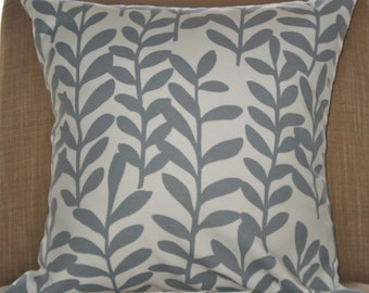 New 18x18 inch Designer Handmade Pillow Case with grey leaves on white.