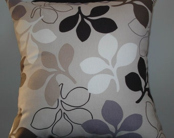 New 18x18 inch Designer Handmade Pillow Case in taupe, black, grey and white branches with leaves.