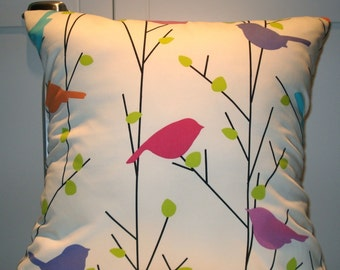 New 18x18 inch Designer Handmade Pillow Case in cream with color birds.