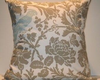 New 18x18 inch Designer Handmade Pillow Case. Warm grey floral with blue bird.