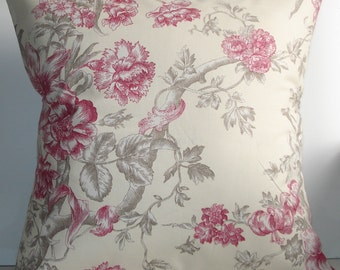 New 18x18 inch Designer Handmade Pillow Case in cream and pink floral.