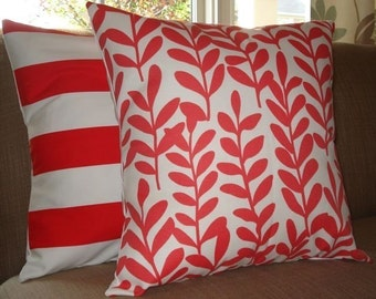 TWO New 18x18 inch Designer Handmade Pillow cases in bright red and white.