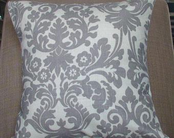 New 18x18 inch Designer Handmade Pillow Cases in smoke grey damask.
