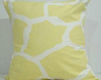 New 18x18 inch Designer Handmade Pillow Case. Giraffe pattern in light yellow on white.