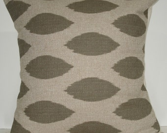 New 18x18 inch Designer Handmade Pillow Cases in green grey ikat pattern.