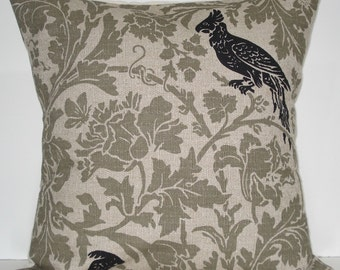 New 18x18 inch Designer Handmade Pillow Cases in black and green grey floral and bird textured fabric.