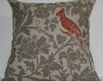 New 18x18 inch Designer Handmade Pillow Cases in green grey floral and orange bird