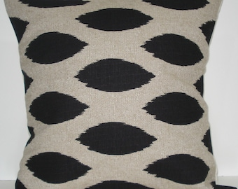 New 18x18 inch Designer Handmade Pillow Case Black ikat fabric.