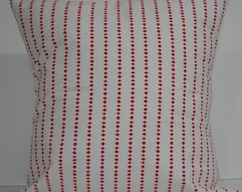 New 18x18 inch Designer Handmade Pillow Cases in red on white