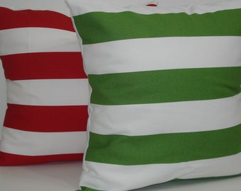 TWO New 18x18 inch Designer Handmade Pillow Cases in red and green stripes