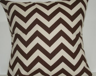 New 18x18 inch Designer Handmade Pillow Case. brown and natural chrvron zig zag pattern.