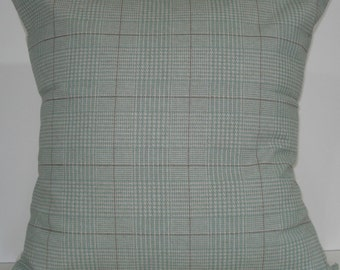 New 18x18 inch Designer Handmade Pillow Cases in a blue green, cream, white, brown and taupe plaid