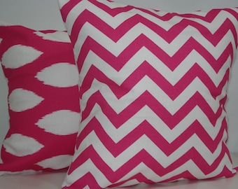 TWO New 18x18 inch Designer Handmade Pillow Cases in pink