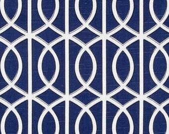 New 18x18 inch Designer Handmade Pillow Case. Dwell Studio. Blue link, lattice.