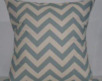 New 18x18 inch Designer Handmade Pillow Case. Village blue and natural chevron zig zag pattern.