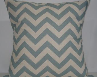 New 18x18 inch Designer Handmade Pillow Case. Village blue and natural chevron zig zag pattern.