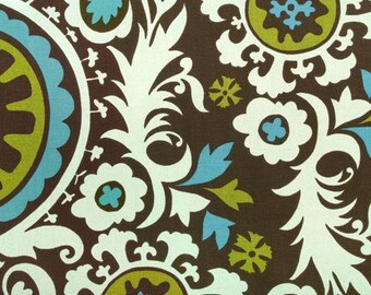 New 18x18 inch Designer Handmade Pillow Case. Suzani print in brown, blue and chartreuse