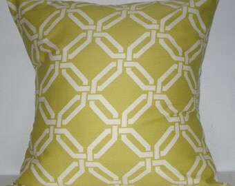 New 18x18 inch Designer Handmade Pillow Cases. chartreuse green and white link pattern.