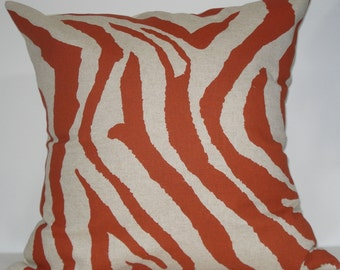New 18x18 inch Designer Handmade Pillow Case in rust and linen