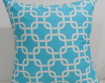 New 18x18 inch Designer Handmade Pillow Cases. Blueand white link pattern.
