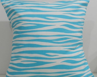 New 18x18 inch Designer Handmade Pillow Cases. Blue and White wave pattern.
