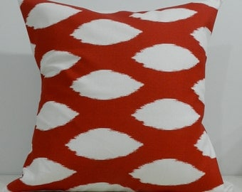 New 18x18 inch Designer Handmade Pillow Cases in red ikat