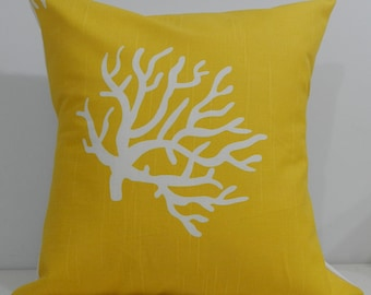 New 18x18 inch Designer Handmade Pillow Case in white coral on a yellow background