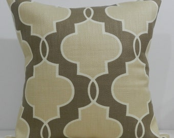 New 18x18 inch Designer Handmade Pillow Case taupe, cream and white