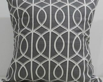 New 18x18 inch Designer Handmade Pillow Cases. Dwell Studio. lattice, trellis, link. cool grey